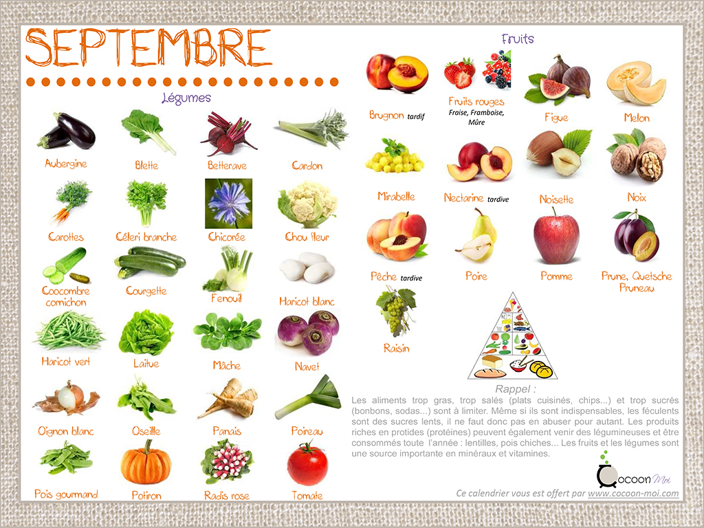 calendrier fruits et l gumes septembre je cuisine en couleurs. Black Bedroom Furniture Sets. Home Design Ideas